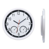 Outdoor Garden Wall Clock Thermometer & Humidity 10'' Home Office Quiet Sweep