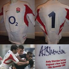 Andrew Sheridan MATCH WORN & SIGNED 2005 England Rugby Union Home Shirt v NZ COA