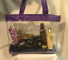 Clear Vinyl Purple Trim Jelly Consultant Beach Shopping Tote Bag Purse Security