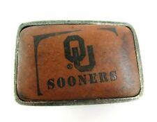 "NEW Oklahoma Sooners Belt Buckle Leather Metal OU (3"" x 2"")"