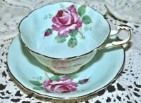 PARAGON Footed TEACUP CUP AND SAUCER PALE BLUE WITH LARGE CABBAGE ROSE
