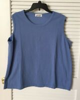 AGENDA SLEEVELESS U-NECK KNIT BLUE TOP, SIZE 3X