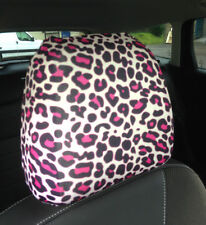 Pink Black Leopard Print Design Car Seat Head Rest Covers Pack Of Two Accessory