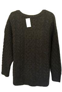 NWT J Jill Cabled Fisherman Sweater - XLP- Lambs Wool Blend - Charcoal $169
