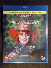 Alice in Wonderland (Blu-ray/DVD, 2010, 4-Disc Set, Incl. Digital Copy 3D) NEW!