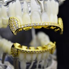 CZ Fang Grillz Set 14k Gold Plated Slim Half Teeth Hip Hop Micropave Bling Fangs