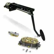 Universal adj FW Manual Brake Pedal kit Disk/DiskLg Oval Blk Pad hot rods
