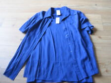 BLUE TOP SIZE 12 WITH OVER BLOUSE BEST BASICS EMBROIDERY COLLAR 6 BUTTONS