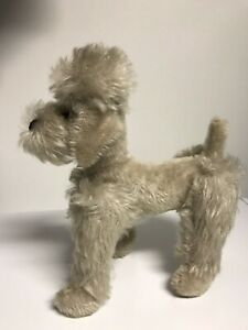 """Gray Jointed Vintage Mohair Poodle 8-1/2"""" L glass eyes stitched nose Cute!"""