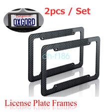 2pc/Set Plastic Carbon Fiber Style License Plate Frames For Front & Rear Braket
