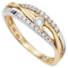 Damen Ring 333 Gold Gelbgold Wei�Ÿgold bicolor Zirkonia Goldring Schmuck Gr.60