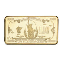 WR USA $1 Billion Dollar 24K Gold Gilded Bar Bank Note Ingot Bullion Art In Case