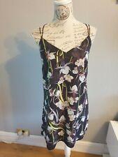 Miss Selfridge Strappy Black Floral Print Dress Size 12 VGC