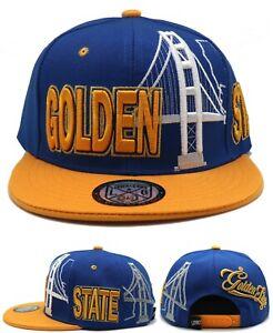 Golden State New Leader Skyline Sideway Warriors Blue Gold Era Snapback Hat Cap