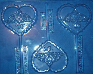 SWEET 16 BIRTHDAY HEART WITH TIARA CHOCOLATE MOULD OR CHOCOLATE LOLLIPOP MOULD