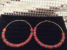 Basketball Wives GOLDTONE ETHNIC Hoop Earrings 3.5 inches RED/BLACK