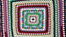 Crocheted Afghan Throw Blanket Granny Square Multicolor 46 x 46 Beautiful