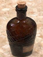 Vintage Bib & Tucker Brown 750ml Glass  Liquor Bottle Cork Curved Flask