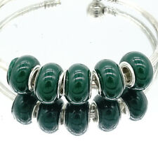 5pcs silver european MURANO Charm Beads Fit 925 Bracelet Necklace Chain green