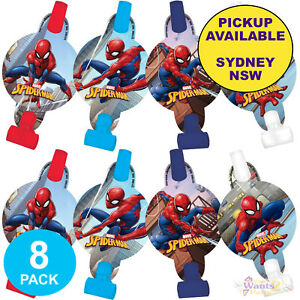 SPIDERMAN PARTY SUPPLIES 8 BLOWERS BLOWOUTS SUPERHERO BIRTHDAY LOOT FAVOURS