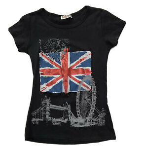 Y2K Souvenirs of London Graphic T Shirt Fitted Glitter Hipster Flag XS Tee Black