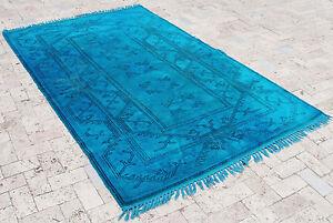 "Turkish Rug 60""x96"" Hand Woven Wool Overdyed Anatolian Carpet 153x246cm"