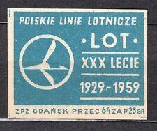 POLAND 1959 Matchbox Label - Cat.Z#139 IV,  LOT Polish Airlines, 1929-1959