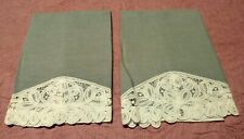 """Set of 2 Beautiful Lace Edged Linen Blue/Gray Hand Towels 15.5"""" x 11"""""""