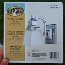 HAMPTON BAY Vanity Fixture - 1-Light WALL SCONCE Chrome, Glass Shade (NEW)