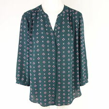 NYDJ Women's Blouse Admiral Pintuck S 36 Polyester Crepe Pattern NP 89 NEW