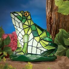 Solar Powered Lighted Illuminated Tiffany Glass Style Frog Garden Statue NEW