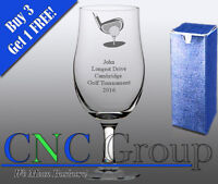 Personalised Engraved Stemmed Pint Glass Golf Award Trophy Sport Tournament