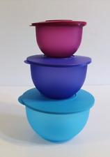 Tupperware Impressions Mixing Bowls 3pc Stacking Set & Pink Aqua Blue New