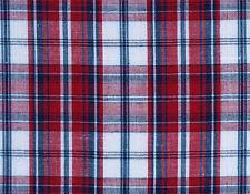 Madras Cotton. 2½ Yards, Plaid Fabric. Red, Navy, White, Woven Tartan