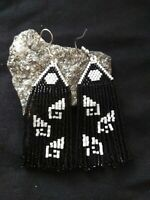"Beautiful handcrafted black and white seed bead  earrings (3"")"