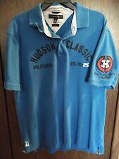 Tommy Hilfiger Men's Blue Polo w/patches XL Trim Fit Hudson Classic Spellout