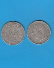 Belgique Léopold II 5 Francs argent 1868 Variété Tranche B Variété rare