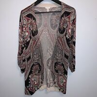 Chicos Womens Cardigan Sweater Open Front Lightweight Black Red Paisley Size 1 M