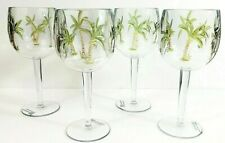 "9"" Palm Tree Wine Cups Set Of 4 Acrylic 14 Oz New"