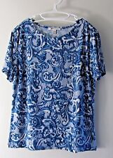 Women's M Blue Floral Top M Collection Short Sleeves Cotton Polyester Casual