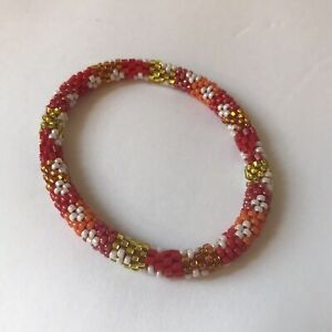 """Sashka Co regular 6-8""""  RED & GOLD Glass Beaded Fire And Ice Brand New"""
