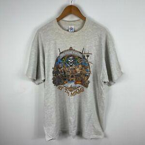 VINTAGE Treasure Island Jerzees Mens T-Shirt XL Grey Short Sleeve Made USA