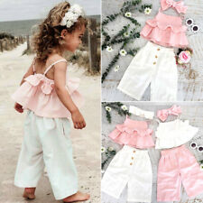 Toddler Kid Baby Girl Ruffle Crop Sling Top Pants Trousers Outfit Clothes Summer