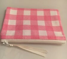 HANDMADE PRETTY PINK GINGHAM CHECK ZIPPY COIN COSMETIC PURSE 'NEXT' FABRIC