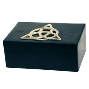 """NEW Silver and Black Wood Triquetra Box 4x6"""" Trinket Tarot or Herb Chest"""