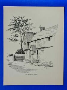 1902 Antique Print, Old Houses at Witley, Surrey by Duncan Moul APS2