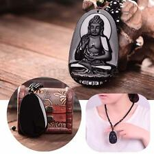Black Natural Obsidian Carved Buddha Pendant Gift For Men Lady Necklace Rope
