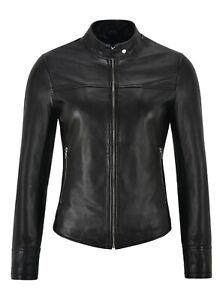 Ladies Leather Jacket Black Slim Real Lambskin Short Rock Tops Racer Jacket 1119