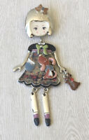 Adorable Girl  dog cat with movable legs Pin Brooch in enamel on Metal