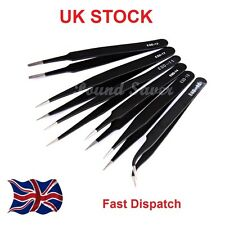 6 x QUALITY PROFESSIONAL COATED PRECISION TWEEZERS SET S/ STEEL NON MAGNETIC